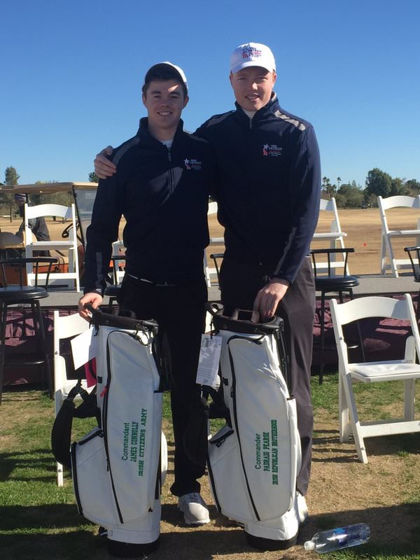 Stuart Grehan (left) and Robin Dawson in Arizona. Picture via @MU_Golf