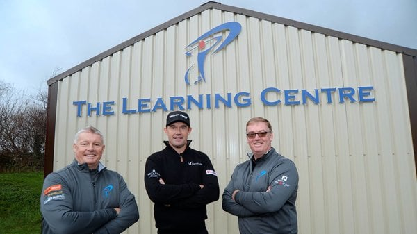 Tadhg Harrington, Padraig Harrington and Stephen Ennis at the opening of The Learning Centre at Balcarrick Golf Club