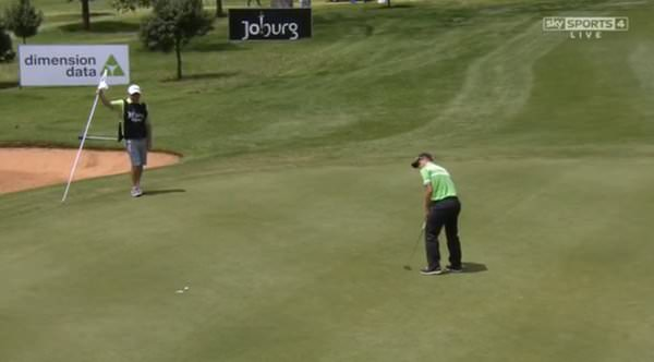 Paul Dunne makes one of his five birdies