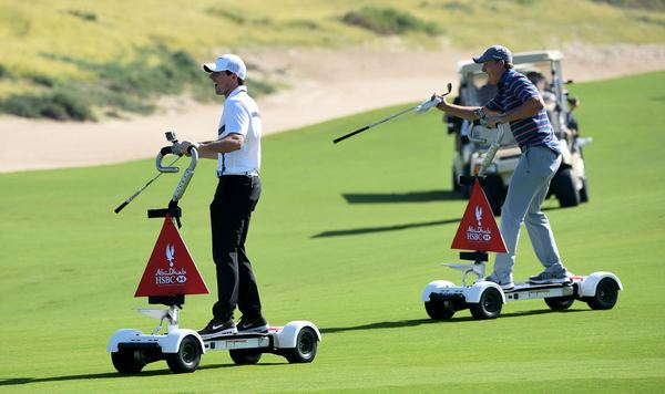 Rory McIlroy and Jordan Spieth have fun on golf boards in the build up to the Abu Dhabi HSBC Golf Championship