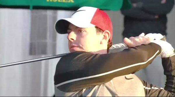 Rory McIlroy hits his opening tee shot of 2016 in Abu Dhabi