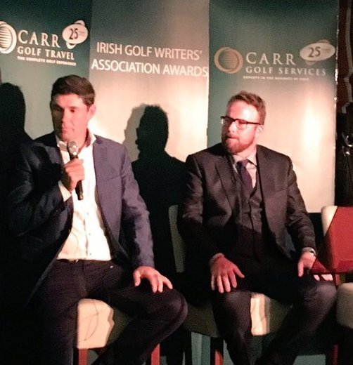 Pádraig Harrington and Shane Lowry during a Q&A held at the 2015 Irish Golf Writers' Association Awards dinner at Castleknock Golf Club, sponsored by Carr Golf