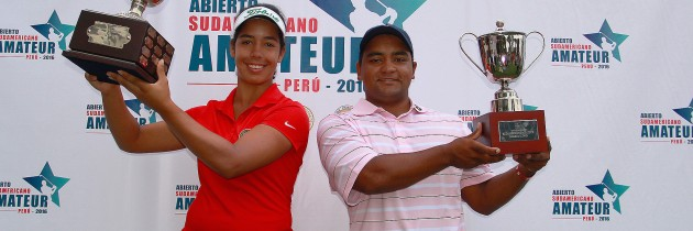 Sofía García and Juan Álvarez with their respective trophies
