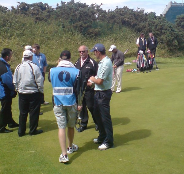 Pádraig Harrington ices his wrist at Royal Birkdale in 2008