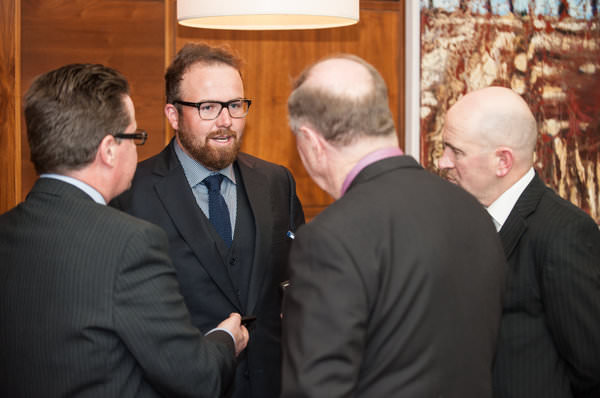 Shane Lowry gives an impromptu interview to journalists Cathal Dervan, Dermot Gilleece and Philip Quinn at the Irish Golf Writers' Association's awards dinner at Castleknock Golf Club on January 21, 2016