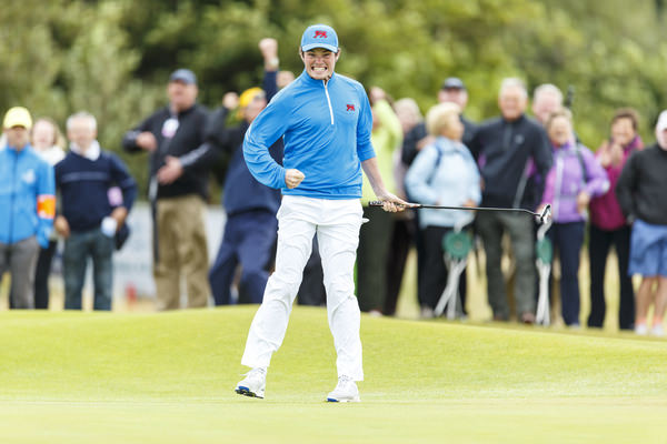 Winning. Cormac Sharvin reacts after making his putt on the 14th hole to win the match during the morning foursomes matches of the 2015 Walker Cup at Royal Lytham & St. Annes G.C. in Lytham St Annes, Lancashire on Saturday, Sept. 12, 2015.  (Copyright USGA/Chris Keane)