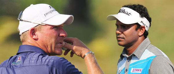 Shaun Norris and SSP Chawrasia. Picture: Asian Tour
