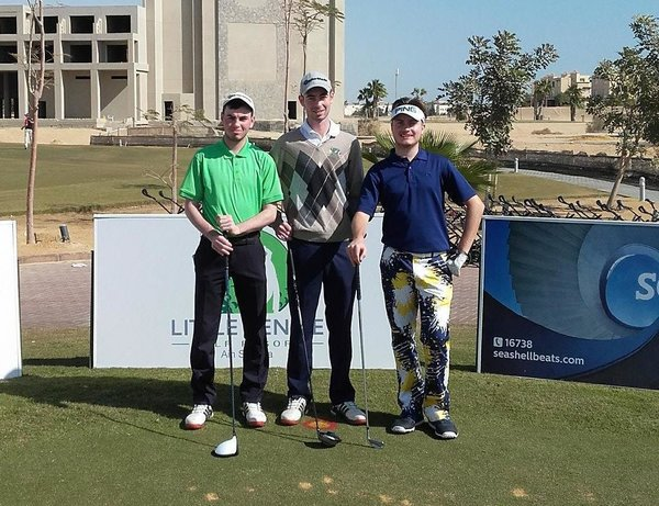 (L-R) Eamonn O'Driscoll, Tommy O'Driscoll and David Carey pictured at Sokhna Golf Club in Egypt earlier this week.