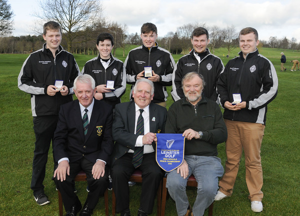 Winner Scoil na mBraithre, Kilkenny. Front (l to r): Willie O'Rourke, Captain of Carlow, John Ferriter, Chairman of Leinster Golf and Sean Breathnach, Team Manager. Back: Bobby O'Mahony, Jack Walsh, Martin Power, Kevin Power and Mackenzie Davin. Photo: Ronan Quinlan