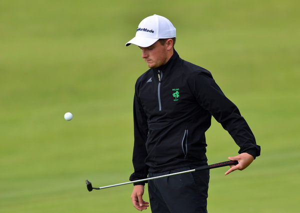 Jack Hume (Ireland) shows his skills on the final day of the 2015 Home International Matches at Royal Portrush Golf Club. Picture by  Pat Cashman
