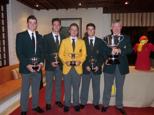 Jack Hume and his Irish team mates Stuart Grehan, Alex Gleeson and Dermot McElroy the European Nations Cup trophy