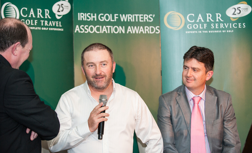Damien McGrane keeps the audience entertained with his stories from the tour at the 2015 Irish Golf Writers' Association awards dinner, held at Castleknock Golf Club in January. Also pictured, interviewer Denis Kirwan (left) and Peter Lawrie.