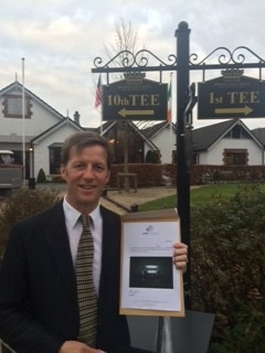 Category 3-9 winner Alan Neville (Dromoland Castle) with his Set Up Eye voucher.  SetupEye  is the world's first handheld alignment system for golfers, with target lock technology and built in viewfinder.