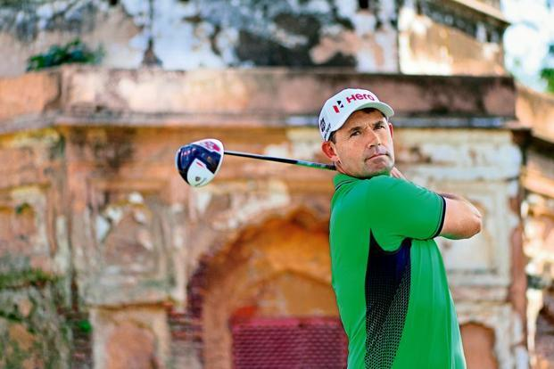 Padraig Harrington in action at Delhi golf club