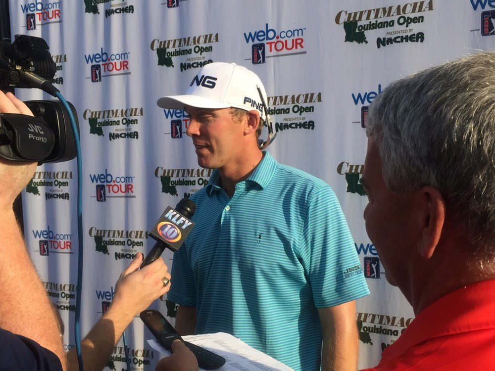 Seamus Power speaks to the media in Louisiana after his 64