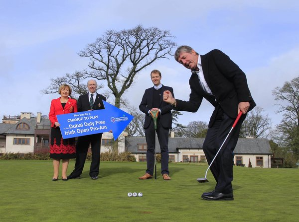 Looking forward to the Dubai Duty Free Irish Open qualifying events are (l-r) K Club Lady Captain Angela Cirillo and Captain Tony Kelly, European Tour Championship Director Rory Colville and Dubai Duty Free Golf Ambassador Des Smyth.