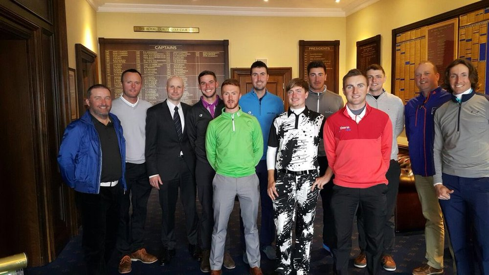 Pictured at The Royal Dublin on 22 March 2016: (L-R) Damien McGrane, Michael Hoey, Royal Dublin manager Eoin O'Sullivan, Brian Casey, Noel Murray, Niall Kearney, David Carey, Jeff Hopkins, Declan Loftus, Joe Dillon, Ger Hall and David Rawluk. (Click to enlarge)