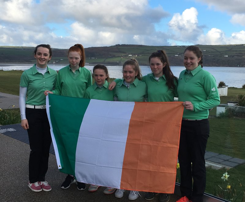 The Irish U16 & U14 Horizon Team. Left-right, Lauren Walsh, Anna Dawson, Aine Donegan, Sara Byrne, Beth Coutler and Anna Foster.