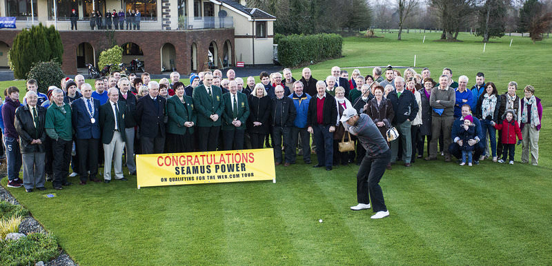 Seamus Power on a visit home to  West Waterford Golf Club  to celebrate his graduation to the Web.com Tour for 2015