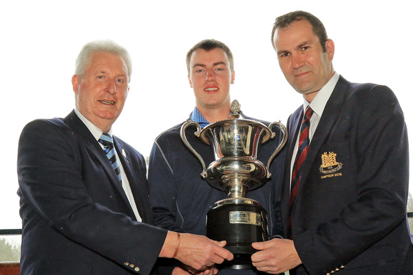 Jack McDonnell (Forrest Little/NUIM) receiving the Munster Youths trophy from John Moloughney, Chariman Munster Golf and Carl Toal, Captain Monkstown Golf Club. Picture: Niall O'Shea