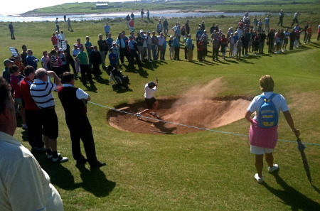 John Greene blasts onto the 12th green in the 2010 South of Ireland final at Lahinch.