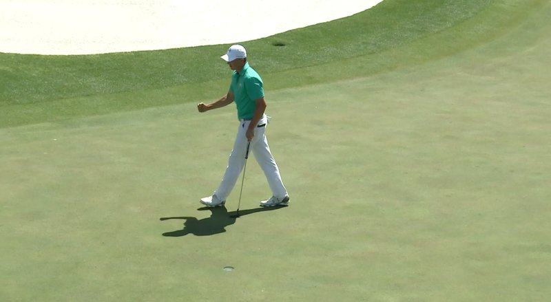 A fist pump from Jordan Spieth after his birdie at the 18th. His 66 was his eighth sub par round in nine trips around Augusta National in the Masters — 71 70 70 72; 64 66 70 70; 66.