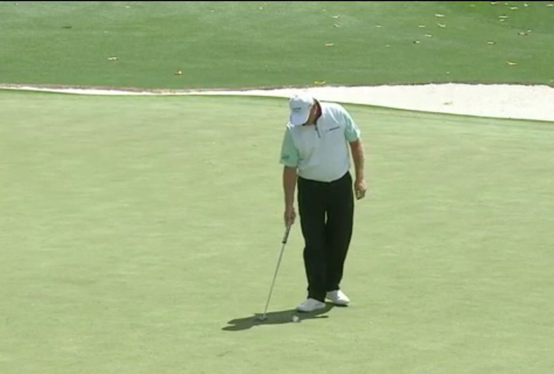 Ernie Els during his six-putt nightmare on Thursday