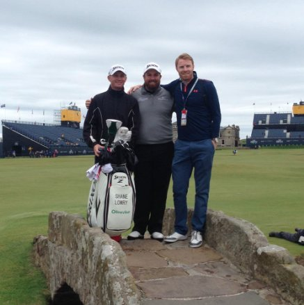 David Lowry with his cousin Shane and caddie Dermot Byrne at The Open last year.