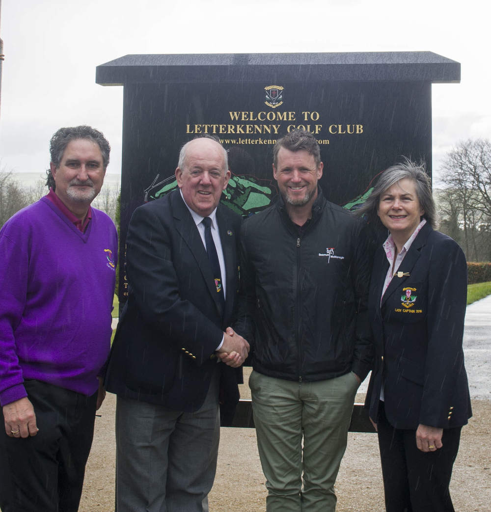 Club Captain Ivan Fuery; Lady Captain Jacqueline Ireland and club P.R.O Eamonn Davis welcoming PGA Golf Professional Seamus Mc Monagle to Letterkenny Golf Club.