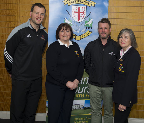 Donegal GAA team captain Michael Murphy, Letterkenny Golf Club lady vice-captain Mary Fowley and Lady Captain Jacqueline Ireland welcoming PGA Golf Professional Seamus Mc Monagle to the club