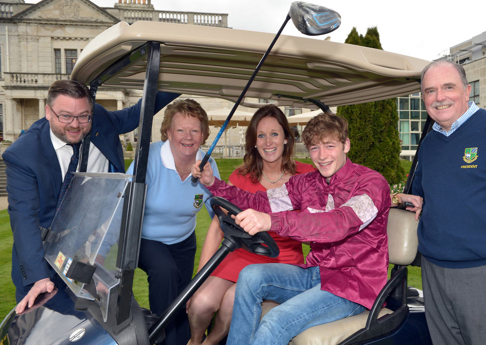 English Grand National winning jockey David Mullins pictured at the Radisson Blu (St Helen's Hotel) and Killiney Golf Club Photo Call to announce detail of the 40th Annual Invitation Mixed Foursomes Golf Week. Pictured (from left) Neil Lane (General Manager, Radisson Blu, St Helen's Hotel), Claire Blake (Lady Captain, Killiney Golf Club), Yvonne McNamara (Director of Sales, Radisson Blub, St Helen's Hotel) and Brendan Pigott (President, Killiney Golf Club). Picture by  Pat Cashman