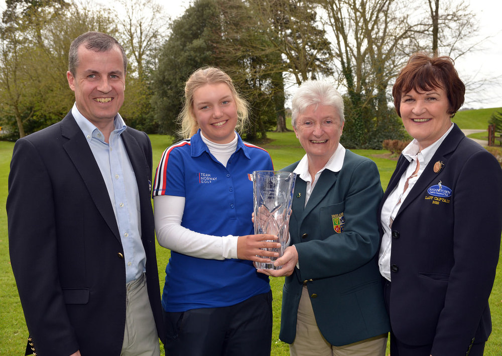 Irene Poynton (Board Member ILGU) presenting Celine Borge (Norway) with the 2016 Irish Girl's Open Strokeplay trophy after her victory at Roganstown Golf Club today (17/04/2016). Also in the picure are Brian Hand (Captain, Roganstown Golf Club) and Phil Keane (Lady Captain, Roganstown Golf Club). Picture by  Pat Cashman