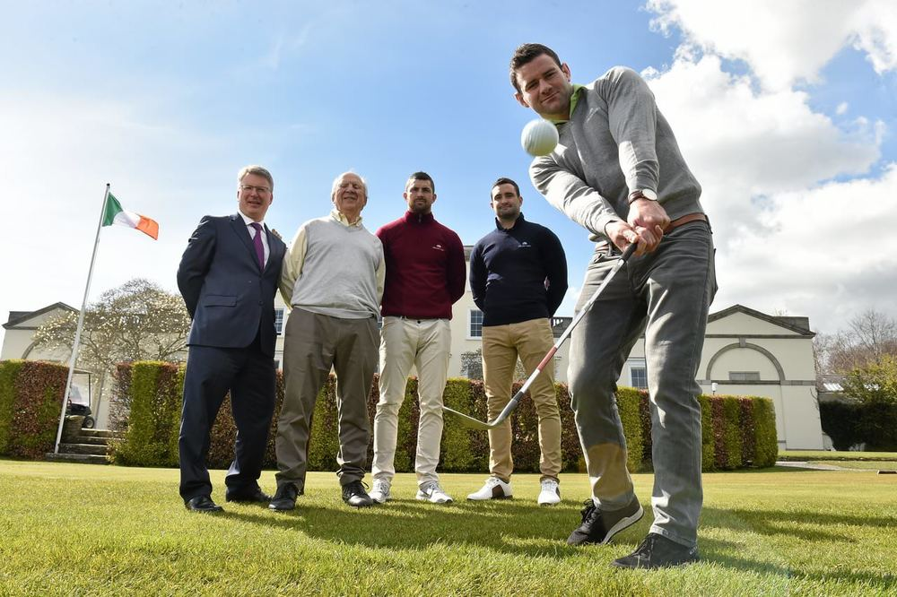 Ireland rugby international Fergus McFadden with Edward Stephenson, CEO, Druids Glen Resort, Jonathan Irwin, founder/CEO Jack and Jill Foundation and Leinster rugby team-mates Rob and Dave Kearney. Picture: Matt Browne / SPORTSFILE