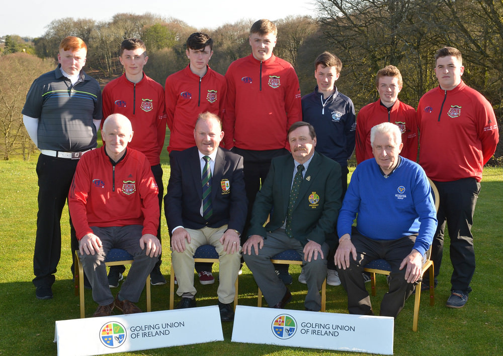 Kevin McIntyre (President, Golfing Union of Ireland) with the runners-up Patrician Academy, Mallow. Back (from left) Ronan Feerick, Daniel O'Sullivan, Chris Taylor, Eoin Aherne, Jack Dillon, Liam Dowling and Conor Roche. In front (from left) Arthur Murphy (Team Captain), John Burns (Captain, Athlone Golf Club) and John Moloughney (Chairman, Munster Golf). Picture by  Pat Cashman