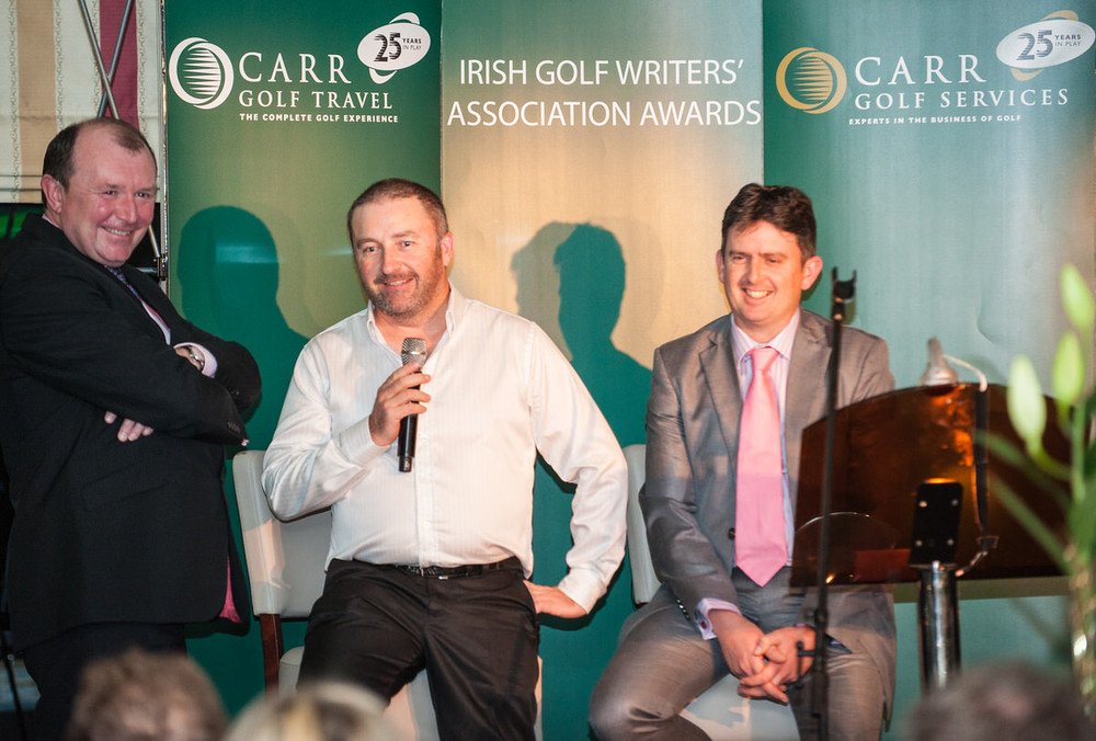Damien McGrane speaking at the 2015 Irish Golf Writers' Awards