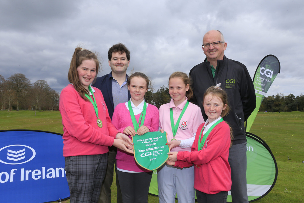 Gavin Kelly (Bank of Ireland) and Justin O'Byrne (CGI) with Ballysisteen's Keelin O'Keeffe, Lauren Kelly, Caitlin Shipman and Chloe Ryan. Picture: Golffile