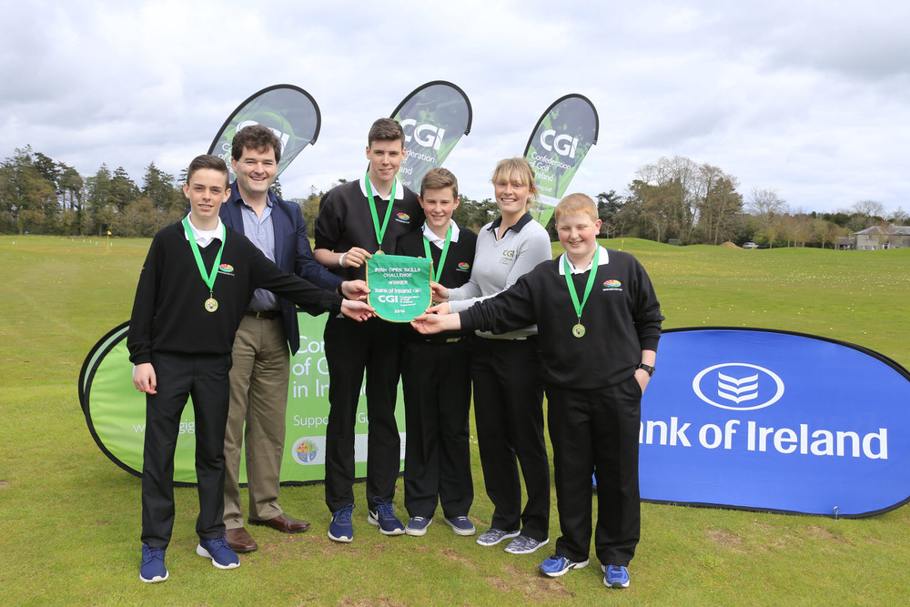 Gavin Kelly (Bank of Ireland) and Kate Whyte (CGI) with Enniscrone's Tony Conlon, Connor Ruddy, Cormac Feeney and Odhran Cloonan at Carton House. Picture: Golffile