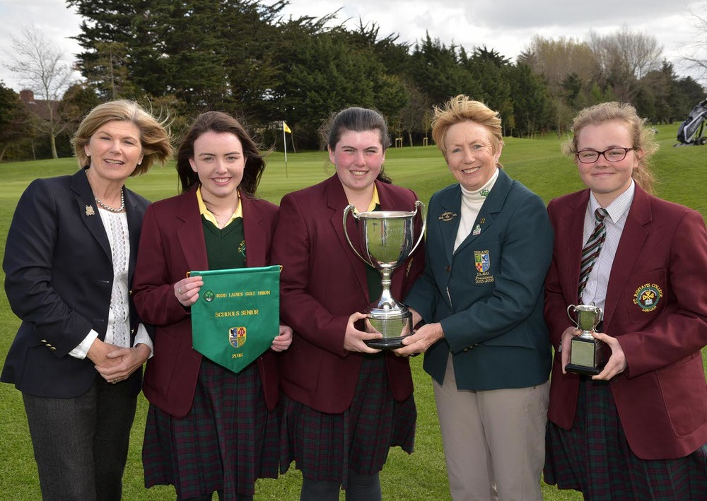 Valerie Hassett (President, Irish Ladies Golf Union) presents the 2016 Irish Schools Senior Cup to St Ronan's College, Lurgan represented by (L-R)  Eadaoin Ward, Niam McSherry and Annabel Wilson. Picture by Pat Cashman