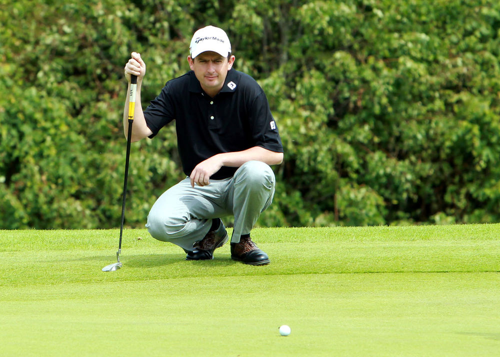 Tournament winner Peter Lawrie lines up on the 4th at the Slieve Russell.  Photo: Adrian Donohoe.