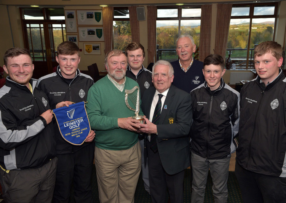 John Ferriter (Chairman, Leinster Golf, GUI) presenting Sean Breathnach (Teacher) with the 2016 Leinster Inter Schools League Matchplay trophy after Scoil na mBraithre, Kilkenny's victory at Craddockstown Golf Club. Also in the picture (from left) Kevin Power, Mark Power, McKenzie Davin, Jack Walsh, Dom Murphy (Leinster Golf) and Bobby O'Mahony. Picture by  Pat Cashman
