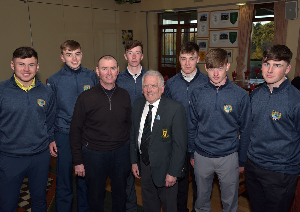 John Ferriter (Chairman, Leinster Golf, GUI) with Gerry Dowling (Captain) of the Donabate Community College team beaten finalists in the 2016 Leinster Inter Schools League Matchplay final. Also in the picture (from left) Mathew Keane, Sean Dowling, Niall Grant, Kevin Le Blanc, Joseph Hanney and Louis Murphy. Picture by  Pat Cashman
