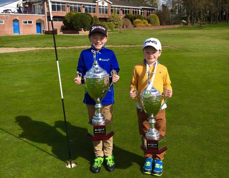 Stars of the future, Brendan and Ryan Mulgrew, get their hands on the Applegreen LowFuelcard Irish Junior Open Series trophies