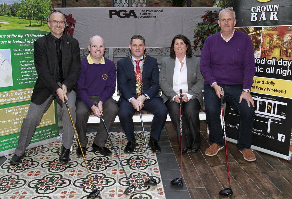 Colm Neville (owner, The Crown Bar, Wexford), Liam Bowler (PGA professional, Wexford GC), Ger McCarthy (Lord Mayor of Wexford), Yvonne Cassidy (PGA Tournament Director) and Anthony Neville (owner, The Crown Bar) at the launch of the 2016 Wexford Golf Club Pro-Am.