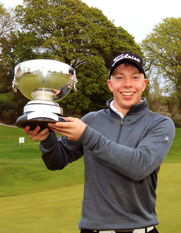 Cathal Butler with the Munster Strokeplay Championship trophy. Picture Niall O'Shea. Courtesy Munster Golf/Cork Golf Club