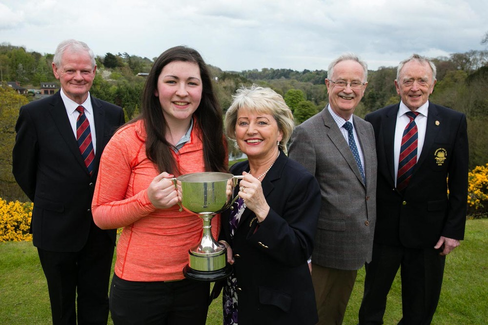 Tony Rooney, President Hermitage GC, Ciara Casey, Hermitage GC, winner of the 2016 Hermitage Scratch Cup with a score of 150, 77/73, Lady Captain of Hermitage GC Liz McHenry, James Kelly,  from sponsor Dermot Kelly Motors, Main Ford Dealer, Kilcock and Walter Corcoran, Captain Hermitage GC. Ciara Casey is the first winner in 45 years from Hermitage Golf Club. Pic Orla Murray/ Ark Photography