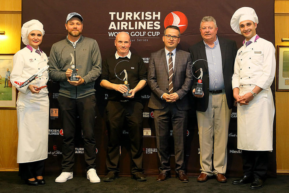 (L-R) Runner up Brian McFadden, winner Tom Muldoon, third placed Clem Walshe and nearest the pin winners Anne Nolan and Keith O'Riley with Murat Balandi, General Manager for Turkish Airlines Ireland.