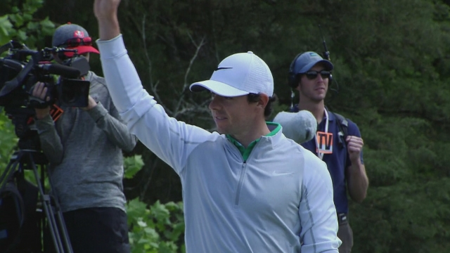 Rory McIlroy after his chip-in eagle
