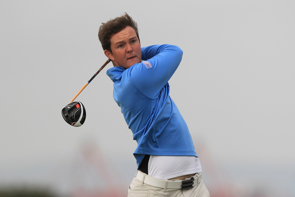 John-Ross Galbraith (Whitehead) during the Flogas Irish Amateur Open Championship at Royal Dublin on Friday. Picture:  Thos Caffrey / www.golffile.ie