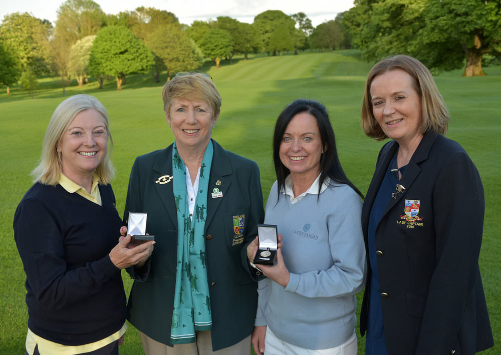 Valerie Hassett (President, ILGU) presenting the silver medal winner Jo Ebbs (Dun Laoghaire) and the bronze to Anne Mullan (Castle Dargan) after their victories at Headfort. Also pictured, Claire Farrell (Lady Captain, Headfort GC). Picture by  Pat Cashman