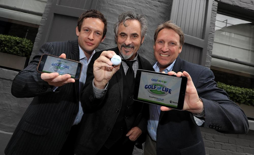 GolfNow Ambassador David Feherty flew in to Ireland today to launch the online golf booking company's new 'Golf for Life' campaign which offers golfers an opportunity to win a free fourball for the next 30 years on any of GolfNow's UK and Ireland courses. In the picture with Feherty are GolfNow's Chris Knipe and Dan Higgins.  Credit ©INPHO/Donall Farmer